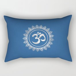 Ohm Symbol Silver on Blue Rectangular Pillow