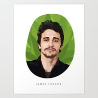 james franco Art Prints featuring James Franco by WeedPornDaily