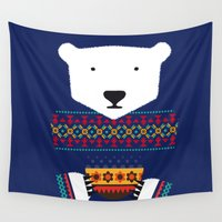polar bear Wall Tapestries featuring Polar Bear by Marco Recuero