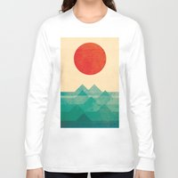 pixel art Long Sleeve T-shirts featuring The ocean, the sea, the wave by Picomodi