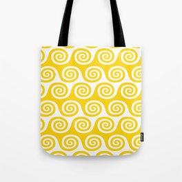 Mid Century Modern Wave Pattern Yellow Tote Bag