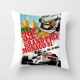 Gran Prix de Monaco, 1981, original vintage poster Throw Pillow