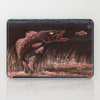 trout iPad Cases featuring Trout Attack In Brown by Bill Holkham