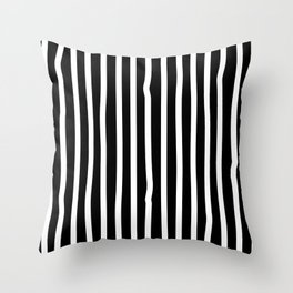 White drawing stripes - black and white  striped pattern Throw Pillow
