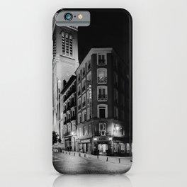 Madrid Hotel at Night BW iPhone Case