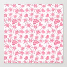 Red hearts doodle pattern Canvas Print