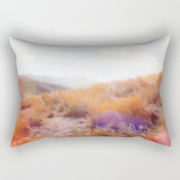 yellow flower field on the mountain with summer light bokeh abstract Rectangular Pillow