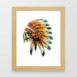 Skull Colorful Chief Framed Art Print