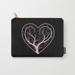 Love Grows, Pink and Black, Tree Carry-All Pouch