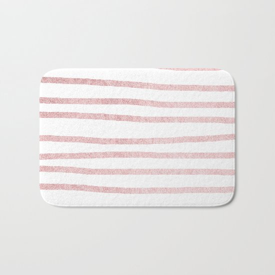 Simply Drawn Stripes in Rose Gold Sunset Bath Mat