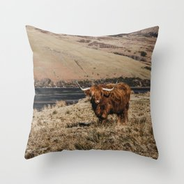 Scottish highland cattle vintage portrait landscap Throw Pillow