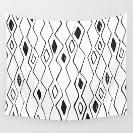 Linocut pattern minimal black and white basic home decor minimalist Wall Tapestry