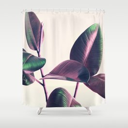 Pink and Green Iridescent Leaves Shower Curtain