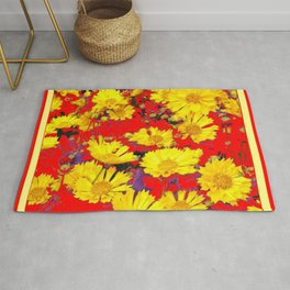 RED  & YELLOW COREOPSIS  FLORAL  ART DESIGN Rug