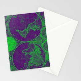World Map (1794) Purple & Green Stationery Cards