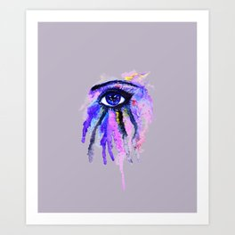 Blue eye splashing Art Print