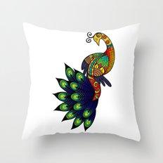 Coy peacock Throw Pillow