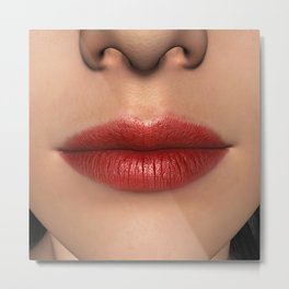 Lipstick Red Female Lips Close up Metal Print