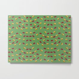 cherries and plums on a green background Metal Print