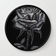 Silver Rose Wall Clock