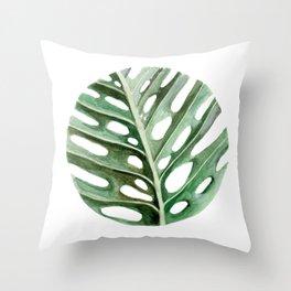 Circular Monstera Leaf Painting Throw Pillow