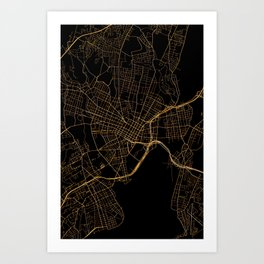 New Haven map, Connecticut Art Print