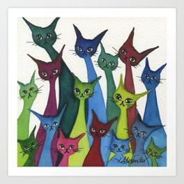 Coronado Whimsical Cats Art Print