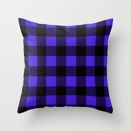 Midnight Blue and Black Buffalo Plaid Throw Pillow