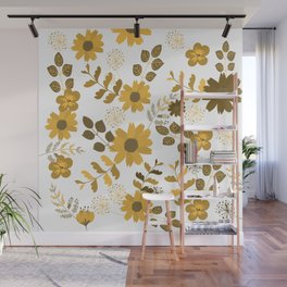 Big Yellow and Brown Flowers Wall Mural