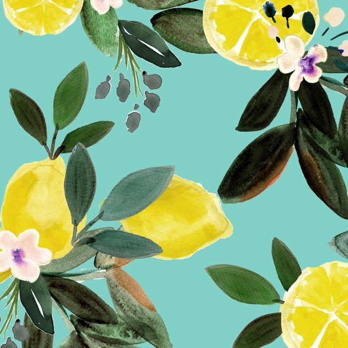 Summer Lemon Floral Leggings