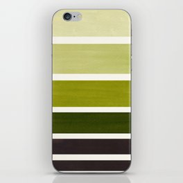 Olive Green Minimalist Mid Century Modern Color Fields Ombre Watercolor Staggered Squares iPhone Skin