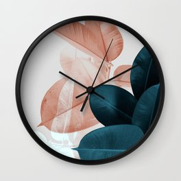 Blush & Blue Leaves Wall Clock
