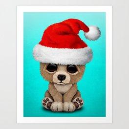 Christmas Bear Wearing a Santa Hat Art Print