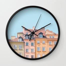 Warsaw Pastels - Poland Architecture, Travel Photography Wall Clock