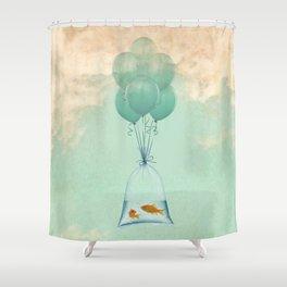goldfish flight to freedom Shower Curtain