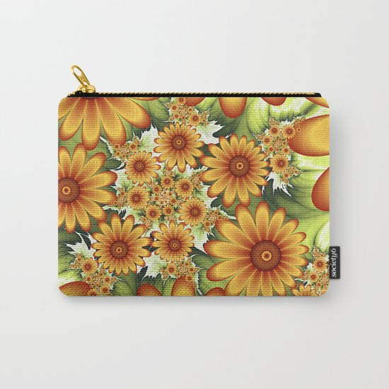 A Floral Dream Of Summer, Fractals Art Carry-All Pouch