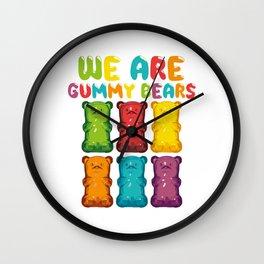 "Desert Design For Sweet Lovers T-shirt Design ""We Are Gummy Bears"" Cherry Icing Cake Dessert Bear Wall Clock"