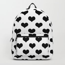 White Black Hearts Minimalist Backpack