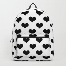 White And Black Hearts Minimalist Backpack