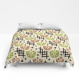 Mid Century Modern Space Flower Pattern Brown and Chartreuse Comforters