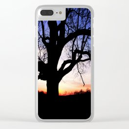 Darkness Against Sunset Clear iPhone Case