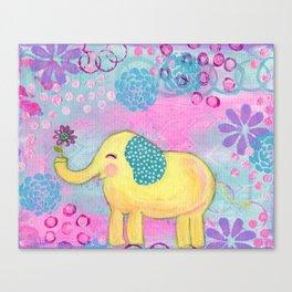 Elephant painting, Nursery Decor, Child's Room Decor, Yellow Elephant, Pink, Light Blue, Lavender Canvas Print