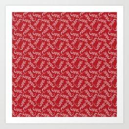 Beautiful delicate distressed white artistic crawling lizards. Elegant burgundy red lizard pattern Art Print