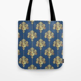 Gold damask flowers and pearls on blue background Tote Bag