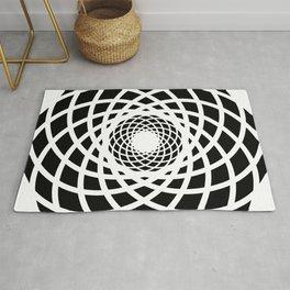 Circle rectangles round pattern Design black & white Rug