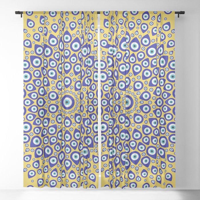 Nazar - Turkish Eye Circular Ornament #3 Sheer Curtain