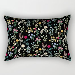Spring Botanicals Black Rectangular Pillow