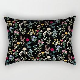 Spring Botanicals Black Rectangular Pillow