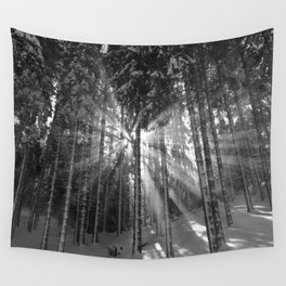 The Golden Light (Black and White) Wall Tapestry