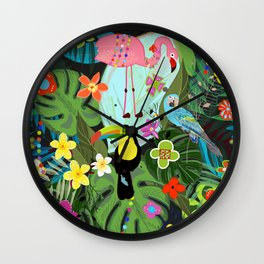 Parrots, Toucan and Flamingo Tropical Birds Tropical Forest Pattern Wall Clock